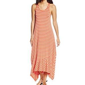 Volcom Orange White Striped Play Along Tank Dress